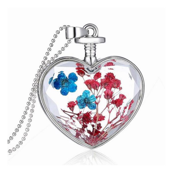 Women Girls Dried Flower Pendant Necklace Mix Style Heart Plant Necklace Gift for Love Girlfriend High Quality Epacket Shipping