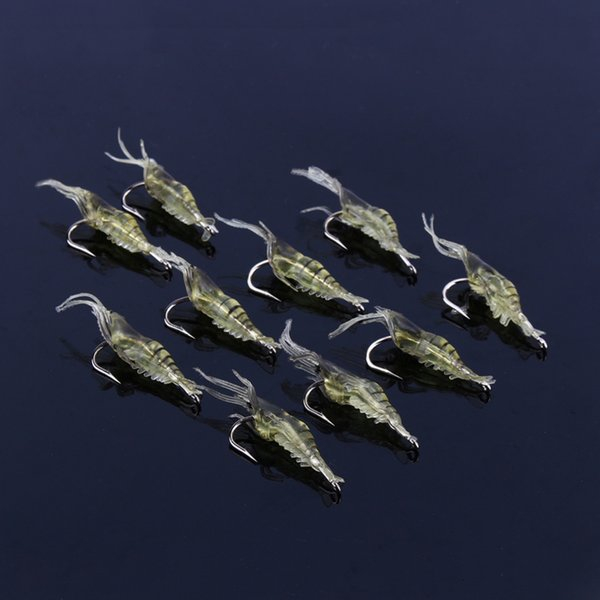 10pcs/lot Soft Silicone Simulation Fishing Lure Shrimp Prawn Bait Artificial Trout Bait Fishy Smell Single Hook Bass Tackle Jig