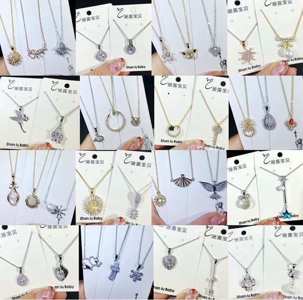 Mixed style Korean Luxury Cubic zirconia CZ Pendant Necklaces crystal diamond Charm Silver plated choker chain For Women Jewelry in Bulk