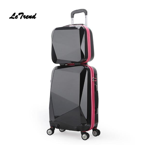 Letrend женщин прокатки багаж комплект чемодана Spinner колеса Trolleyvintage пароля студент дорожная сумка 20-дюймовый ручной клади