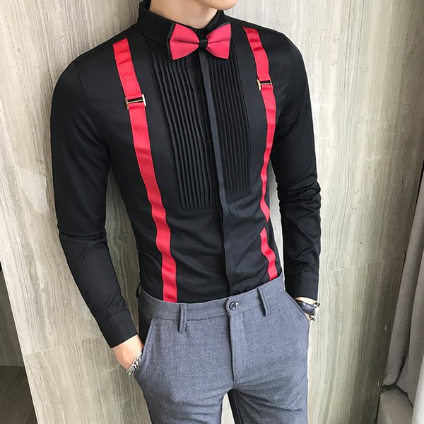 Men Tuxedo Shirts Pleated Front Bow-tie Fake Strap Long Sleeve Mens Dress Shirts Black Red White Slim Fit Wedding Evening Blouse