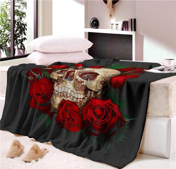 Nap blanket Super Soft Cozy Velvet Plush Throw Blanket Floral Skull Modern Line Art Sherpa Blanket for Couch Throw Travel
