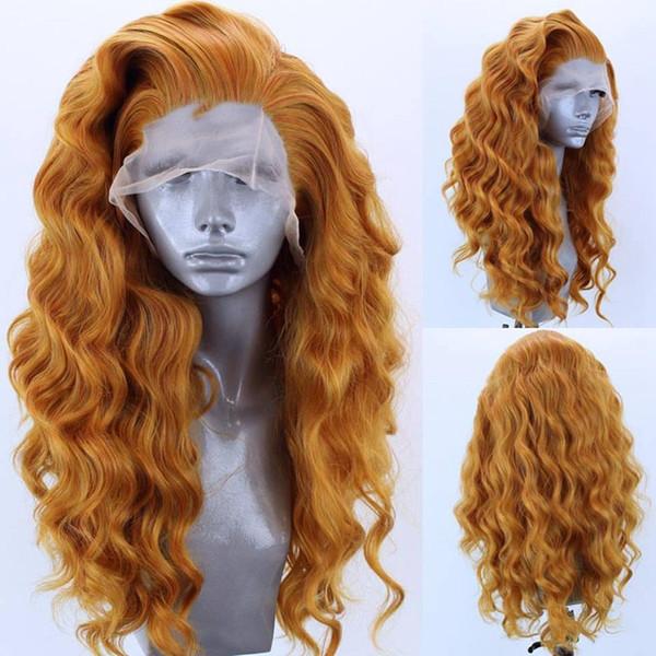 MRWIG parte libre de color naranja pelo calor a largo rizado sintético peluca delantera del cordón 26in fibra resistente