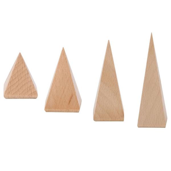 Strumento di visualizzazione di imballaggio di gioielli di vetrina di organizzatore di piramide di esposizione di scaffale di esposizione di scaffale di gioielli in legno naturale caldo