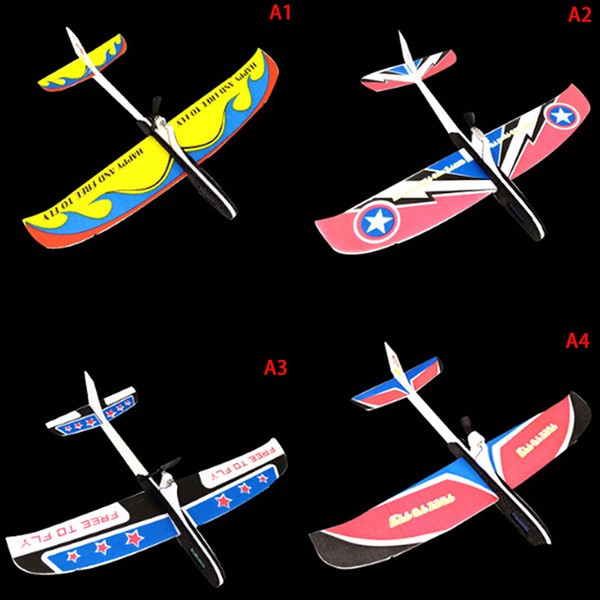DIY Plane Model Educational Toy for KidsHand Throwing Airplane Free-flying Fix Wing Foam Capacitor Electric Glider