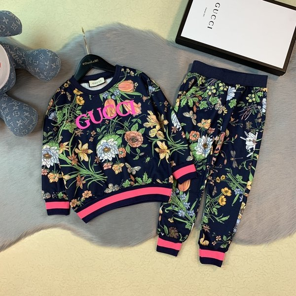 show Two Piece Outfits Spring and Autumn tracksuit Children Garment Sports Pants Pure Cotton Child Kids 09197