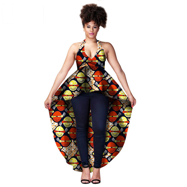 African Top For Women Dashiki Long Shirt Sexy Africa Sling Dress Print Wax Riche Tribal Tops Batik Femal Plus Size Top WY1358