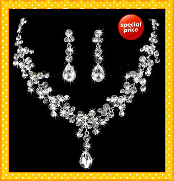 Glitter Two Pieces 2019 Wedding Bridal Jewelry 1 Set Bride Necklace Earring Water Stylish prom Evening Accessories Crystals Beading Cheap