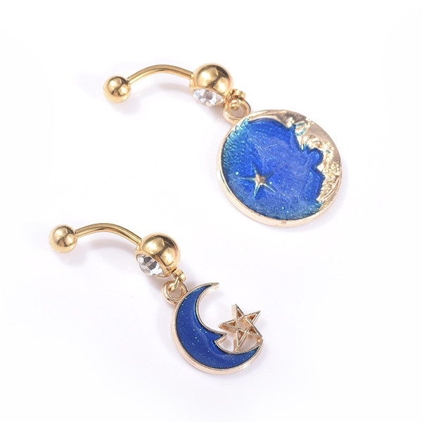 Drip Moon Sun Star Ciondolo Fashion Navel Ring Acciaio chirurgico Golden Couple Belly Button Rings Punk Body Piercing Jewelry