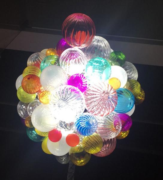 Pretty Bulbiform Round Shape Colorful Hand Blown Chandelier Modern Art Glass Pendant Lamp Holiday Dec LR1299