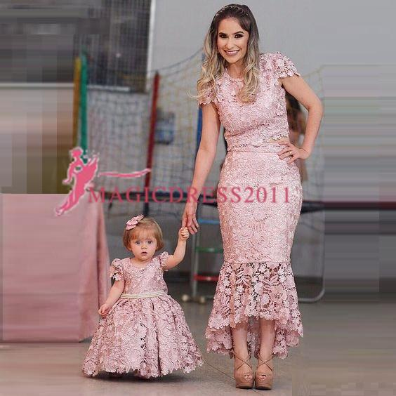 New Gorgeous Pink Cap Sleeves Evening Dresses Lace Appliqued Formal Prom Dress Fashion Zipper Party Gowns Mother And Kid Dresses