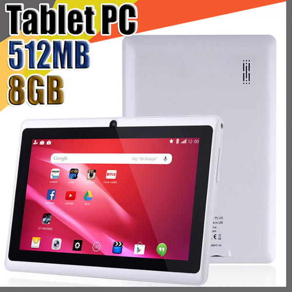 top popular 848 7 inch Capacitive Allwinner A33 Quad Core Android 4.4 dual camera Tablet PC 8GB RAM 512MB ROM WiFi EPAD Youtube Facebook Google A-7PB 2021