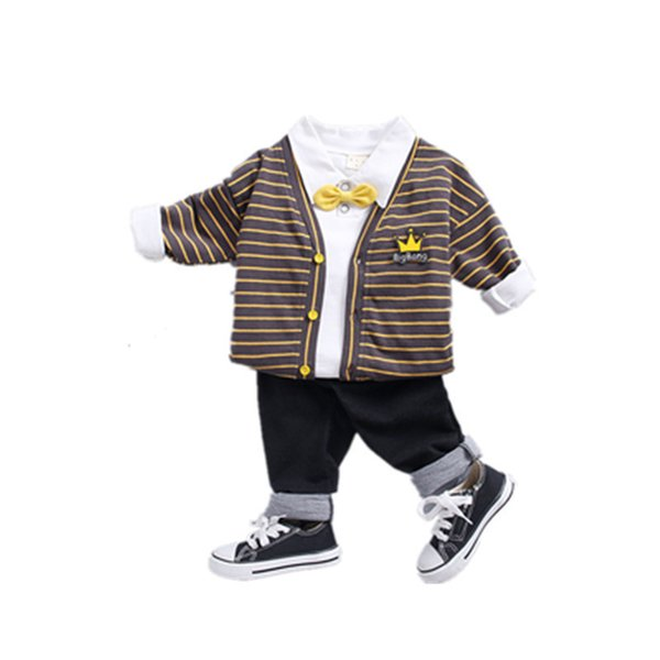 2019 Spring Children Girl Boys Fashion Clothing Jacket Bow T Shirt Pants 3Pcs/Sets Leisure Suit Clothes Baby Cotton Tracksuits