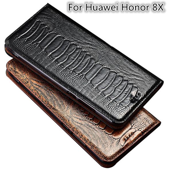 Pied d'autruche Texture En Cuir Véritable Flip Case Pour Huawei Honor 8X Téléphone Case Pour Huawei Honor 8X Téléphone Sac Titulaire de la Carte