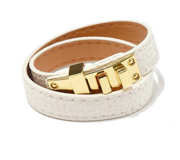 2019 Vintage Multilayer Pu Leather H Bracelets for women Cuff bangles Men gold buckle Wristband Pulseras Hombre Male Accessories Jewelry