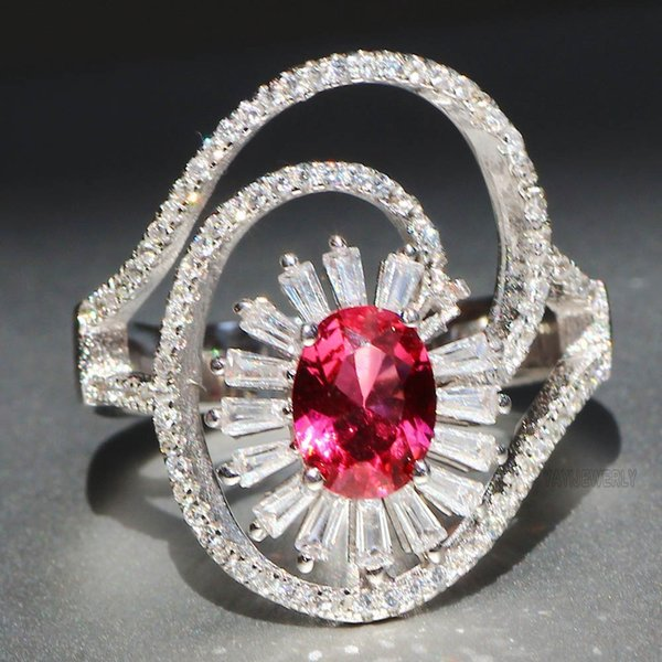Gorgeous plated 925 silver natural gemstone ruby wedding birth stone bride engagement ring ladies fine jewelry sale