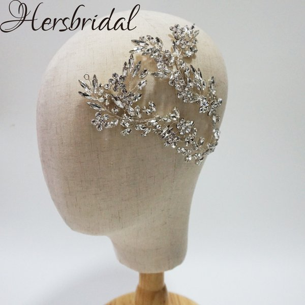 Luxury Crystal Bridal Hair Vine Headband Handmade Wedding Headpiece Stunning Party Hair Jewelry For Brides Y19051302