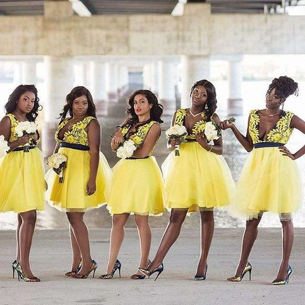 0d9bf4aa869d1 2019 Hot Sale Plunge V Neck Bridesmaid Dresses Appliques Short Yellow Maid  Of Honor Wedding Guest