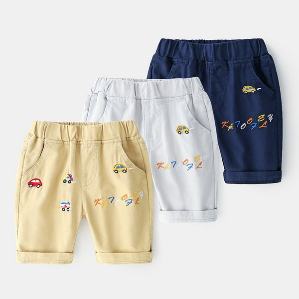 2019 Summer New Boys Casual Shorts Cotton Letter Trousers Kids Pant Children Shorts Baby Embroidered cartoon car five pants 2-7y