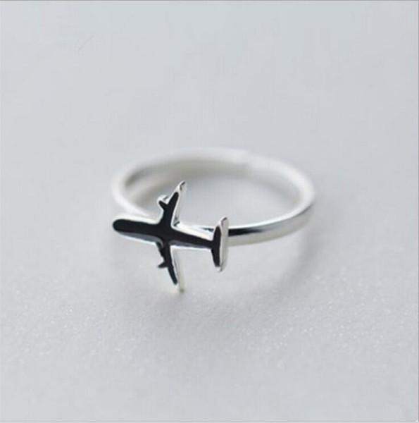 1 Pcs Moda Bonito Prata Cor Avião De Cobre Avião aberto Anel de Dedo Ajustável Para As Mulheres Do Partido Jóias Exclusivas Presente