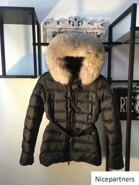 Francés Arriba Marca chaqueta de las mujeres del collar real de piel de invierno abrigos Parkas pato abajo de manera femenino de ropa clásica al aire libre Parka Abrigos Venta