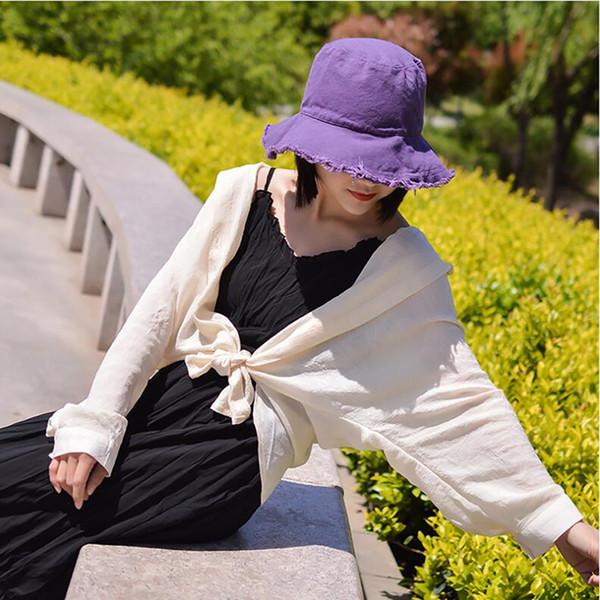 Women Fashion Beach Folding Washed Soft Cloth Caps Fisherman's Hats Women Bucket Hat For Travel Picnic Sun Hats