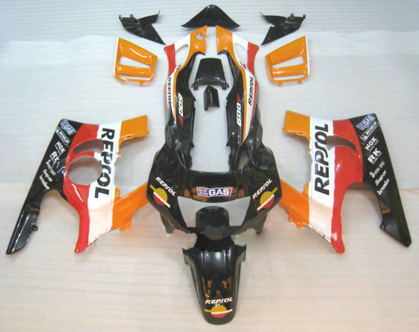 REPSOL Kit de carenado negro naranja para HONDA CBR600F3 97 98 CBR600 F3 1997 1998 CBR 600F3 Carenados set + 7gifts