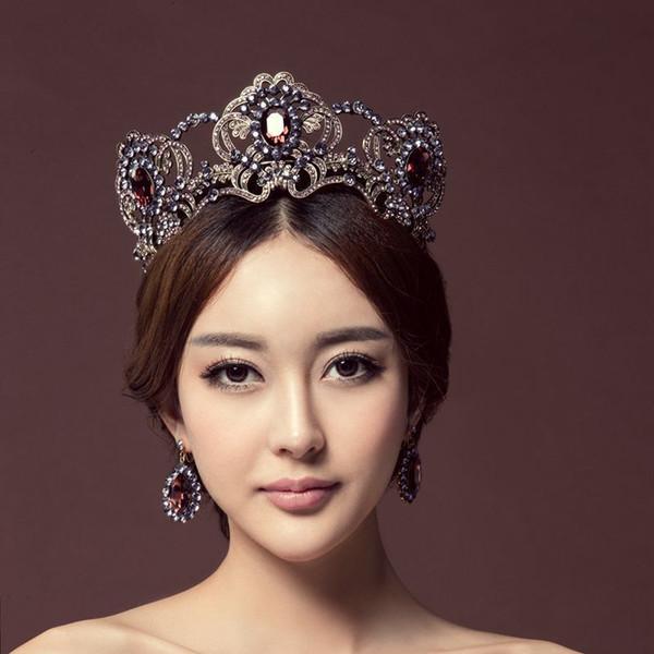 Flor roxa De Cristal De Casamento Tiara Nupcial Coroa Para A Noiva Do Casamento Cor de Ouro Rhinestone Crown Headband Jóias Acessórios Para o Cabelo T190620