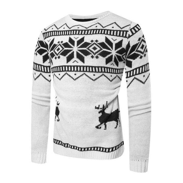 00969f3afcbbf Новый Горячий Пуловер Мужчины Рождественский Свитер Осень Зима Джемпер V  Шеи Оленя Pattern Slim Fit Пуловер