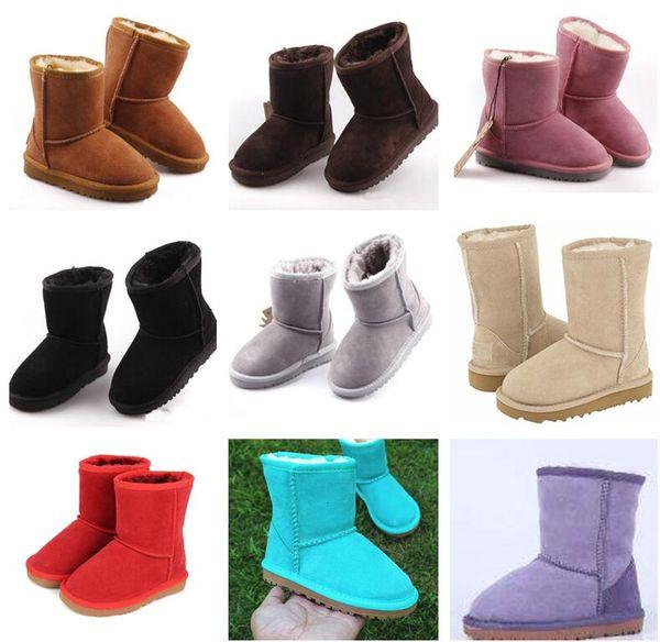 Hot sapatos de grife Meninos e Meninas Estilo Austrália Crianças Botas de Neve Do Bebê À Prova D 'Água Slip-on Crianças Botas de Couro de Vaca de Inverno Marca XMAS