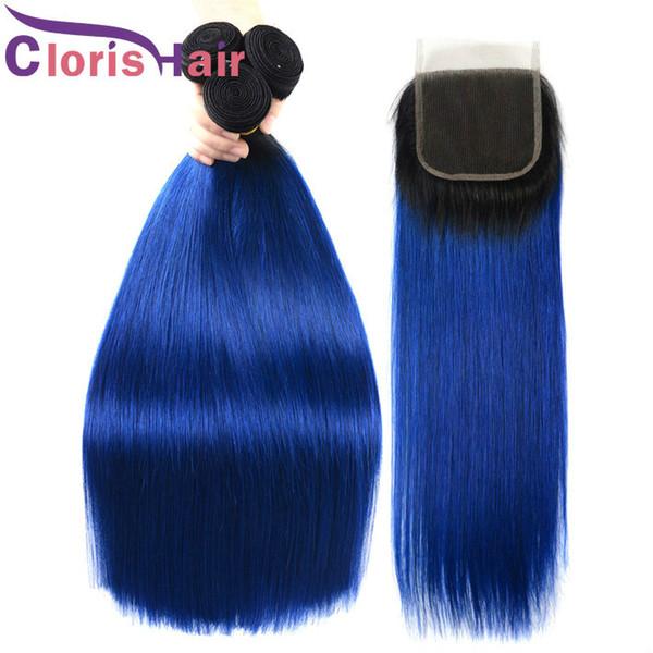 Highlight Straight Blue Ombre Fermeture de dentelle de cheveux humains avec 3 Bundles Extensions de cheveux vierges brésiliens de couleur 1B bleu Ombre tresse la fermeture
