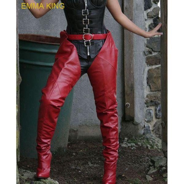 Moda Rihanna Rosso con cinturino cavallo stivali alti stivali alti in pelle Pu cintura con cintura sopra gli stivali al ginocchio tacchi alti scarpe donna 2019