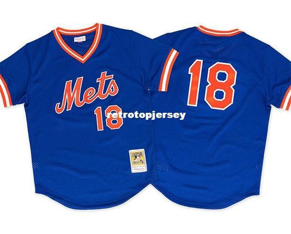 Mitchell Ness pas cher New York # 18 Darryl Strawberry 1986 Mesh Jersey Throwbacks maillots de baseball cousus pour hommes