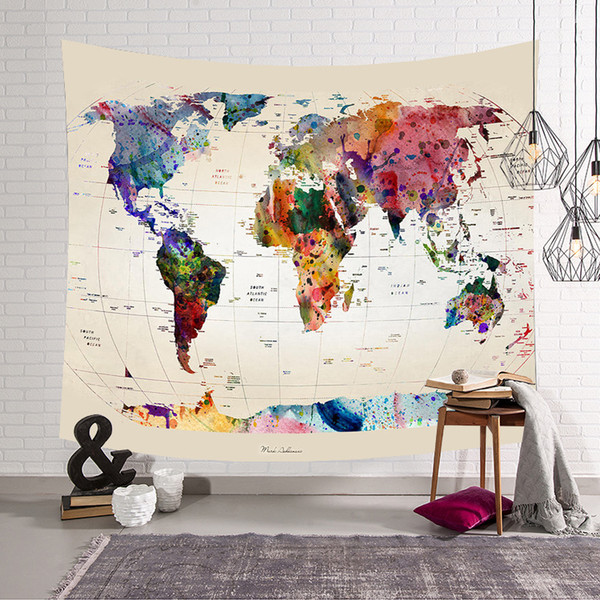 Retro World Map Wall Hanging tapestry Sleeping Pad Wall Tapestry Art Round towel beach Blanket aubusson Decor 200x150 tapestry