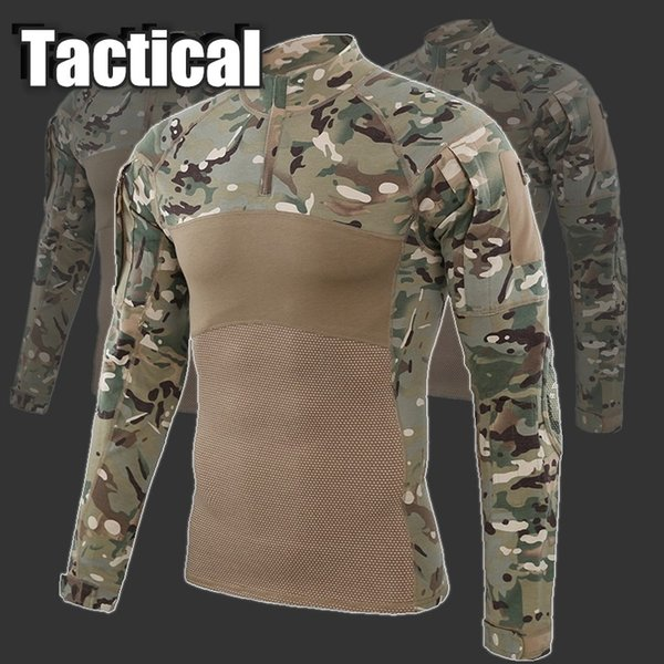 2019 Outdoor Camouflage Tactical T-shirt Paintball Men Combat Army Shirts Uniform for Hiking Hunting Fishing