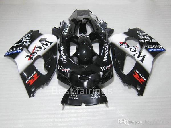 ZXMOTOR Hot sale fairing kit for SUZUKI GSXR600 GSXR750 SRAD 1996-2000 white black GSXR 600 750 96 97 98 99 00 fairings TT57