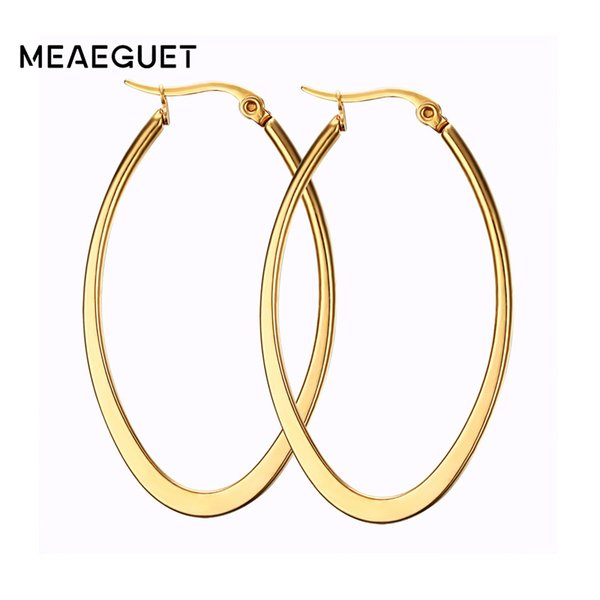 for women New Fashion Hoop Stainless Steel Gold High Quality Earrings For Women Jewelry Classic Large Punk Lady Girls Gifts