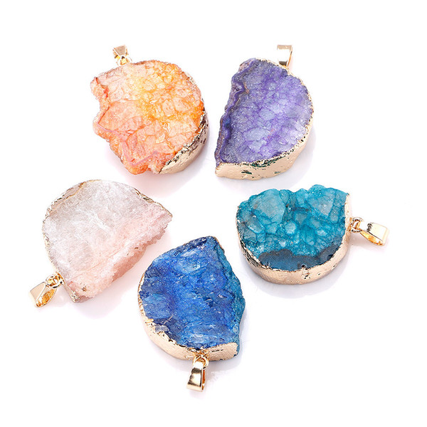 Crystal Pendant Natural Agate The Geode Clusters Buds Ribbon Moon Necklace Cave Gold Sterling Jewelry Statement Perfumes