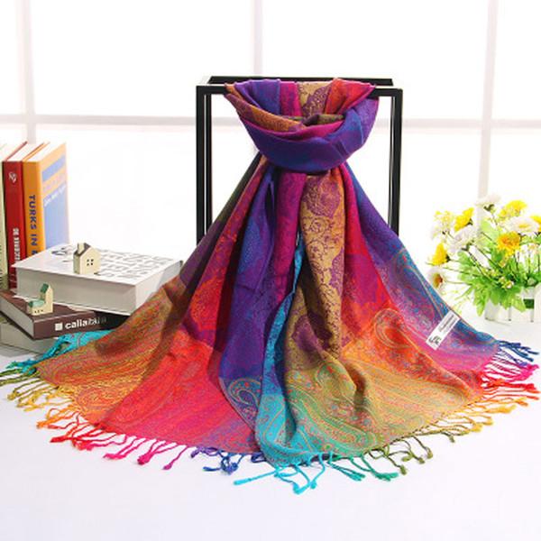 Style ethnique chinois coton foulard arc-en-ciel écharpes Jacquard châles foulards en soie écharpes de printemps fleurs châle été châles Hijabs