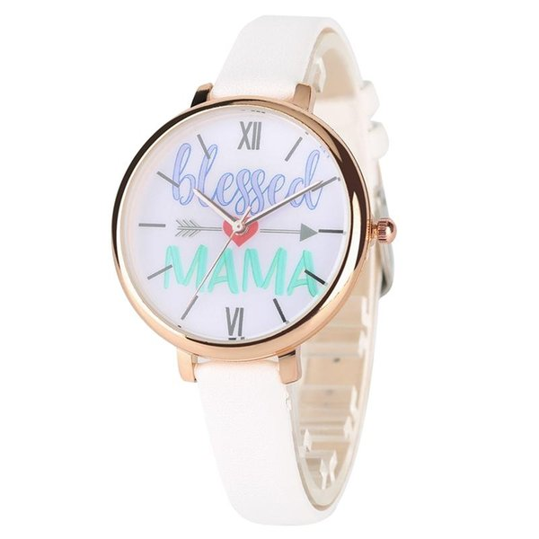 Unique Words of Blessed Mama Quartz Watch Classic White Roman Numeral Dial Hight Quality Leather Band Women Wrist Watches