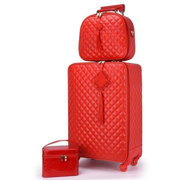 "Red suitcase wedding trolley case Woman luggage bride dowry box Classic 24"" Travel Suitcase set Spinner wheel Carry on luggage"