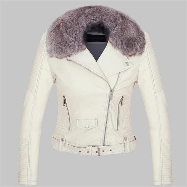 Pu Leather Jacket Coat Autumn and Winter Thickening Velvet Fashion Leisure and Warm Jacket Long sleeve Lapel zipper Short Style