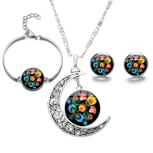 Polish Folk Art Pattern Jewelry Sets Boho Print Handmade Glass Cabochon Moon Necklace & Earrings & Bracelet Party Jewelry