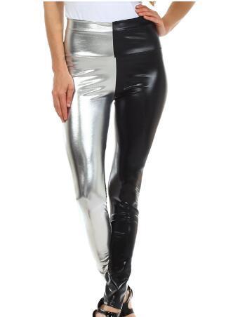 Women Shiny Liquid Metallic High Waist Stretch Leggings Girls Wet Look Pencil Pants Split Double Color combination Trousers