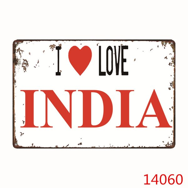 I Love Series Country Metal Tin Sign Bar Pub Home Wall Decoration Retro Metal Art Poster Crafts Four