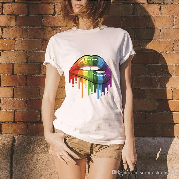 women Summer Tops Tees Sexy color Lips Painted t shirt cotton Short Sleeve brand fashion round neck tshirt