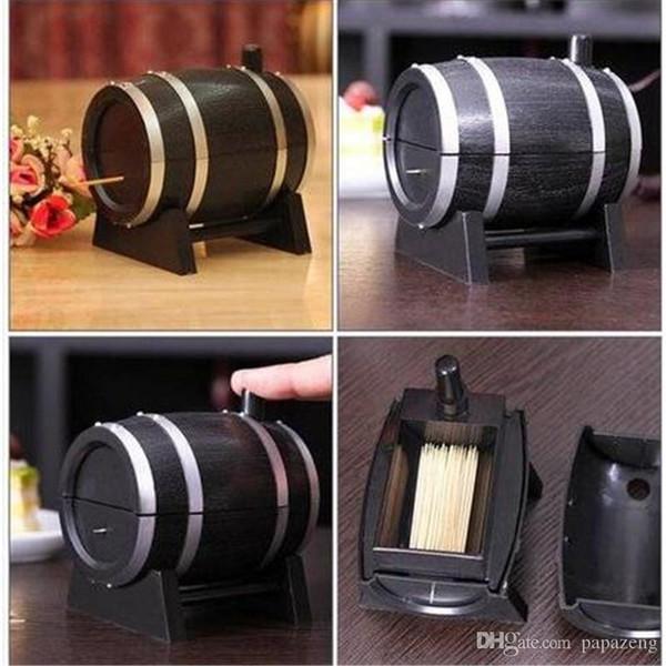 HOT Wine Barrel Contenitore automatico di plastica per stuzzicadenti Contenitore per dispenser Porta stuzzicadenti Accessori per la decorazione della tavola