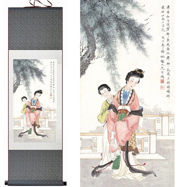 Top Quality Pretty Girl Painting Home Office Decoration Beautifull Woman Painting Traditional Chinese Woman Painting