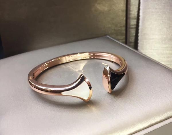 2019 Rose Gold Metall schwarz und weiß fächerförmigen Armband High-End-Marke Frühjahr Eröffnung Design neue B-Armband Rock Armband