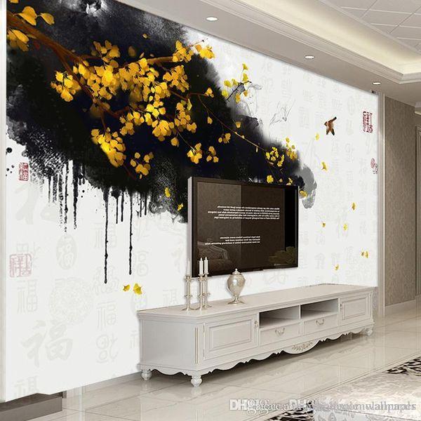 Пользовательские фото стены фрески обои нетканые фрески стены ручная роспись китайское золото гинкго благословение ТВ фон фрески обои